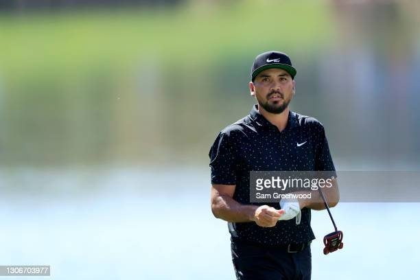 Jason Day of Australia walks on the 18th hole during the second round of THE PLAYERS Championship on THE PLAYERS Stadium Course at TPC Sawgrass on...