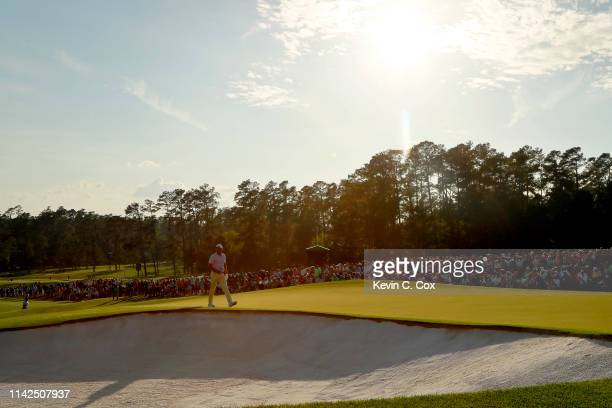 Jason Day of Australia walks on the 18th hole during the third round of the Masters at Augusta National Golf Club on April 13, 2019 in Augusta,...