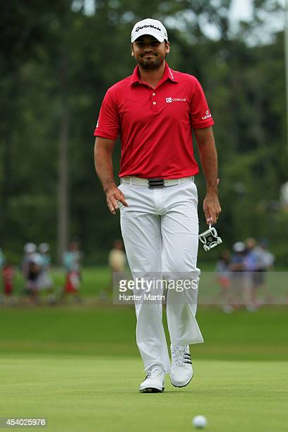 Jason Day of Australia walks to his ball on the 18th green during the third round of The Barclays at The Ridgewood Country Club on August 23 2014 in...