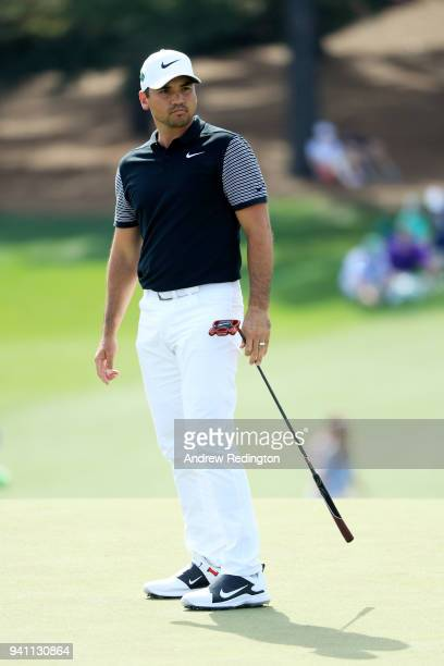 Jason Day of Australia walks up the ninth hole during a practice round prior to the start of the 2018 Masters Tournament at Augusta National Golf...