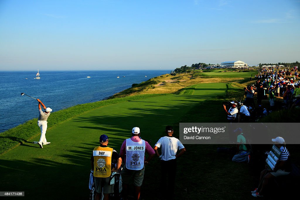 Jason Day of Australia watches his tee shot on the 16th hole during the third round of the 2015 PGA Championship at Whistling Straits on August 15, 2015 in Sheboygan, Wisconsin.