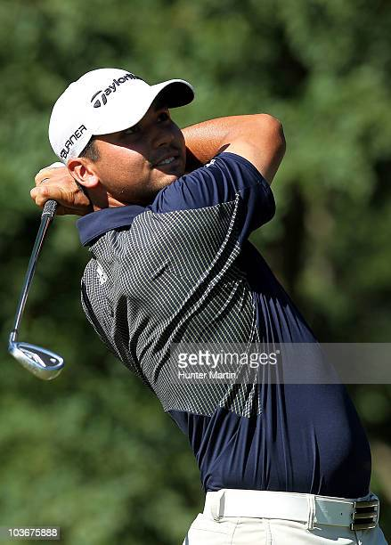 Jason Day of Australia watches his tee shot on the second hole during the second round of The Barclays at the Ridgewood Country Club on August 27...
