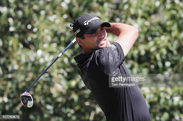 Jason Day of Australia watches his tee shot on the second hole during the second round of the World Golf ChampionshipsDell Match Play at the Austin...