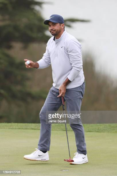 Jason Day of Australia waves on the 18th green during the final round of the 2020 PGA Championship at TPC Harding Park on August 09, 2020 in San...