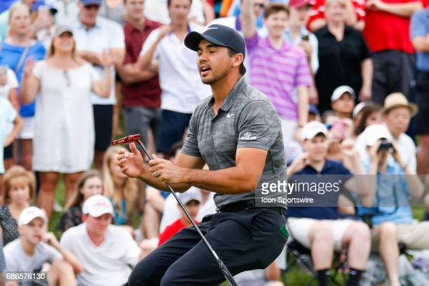 Jason Day reacts as he just misses his birdie putt on during the final round of the AT&T Byron Nelson on May 21, 2017 at the TPC Four Seasons Resort...