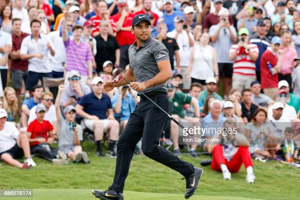 Jason Day reacts as he just misses his birdie putt on during the final round of the ATT Byron Nelson on May 21 2017 at the TPC Four Seasons Resort in...