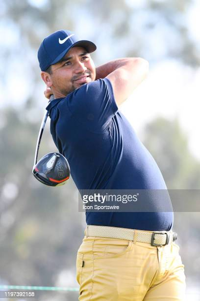 Jason Day tees off on the 14th hole on the North Course during the second round of the Farmers Insurance Open golf tournament at Torrey Pines...