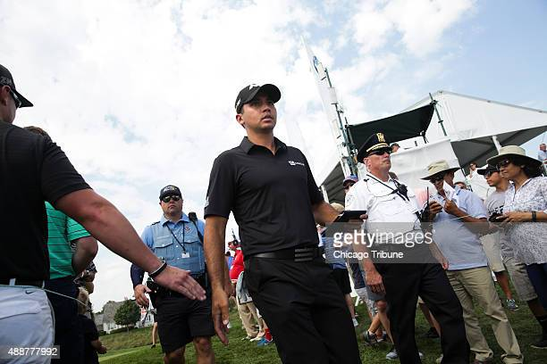 Jason Day walks to the 16th hole during the first round of the BMW Championship golf tournament at Conway Farms Golf Club in Lake Forest Ill on...