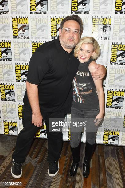 Jason DeMarco and Kari Wahlgren attend Adult Swim's 'FLCL ' Press Line during ComicCon International 2018 at Hilton Bayfront on July 20 2018 in San...