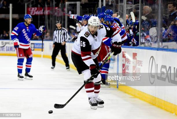 Jason Demers of the Arizona Coyotes controls the puck during their game against the New York Rangers at Madison Square Garden on October 22 2019 in...