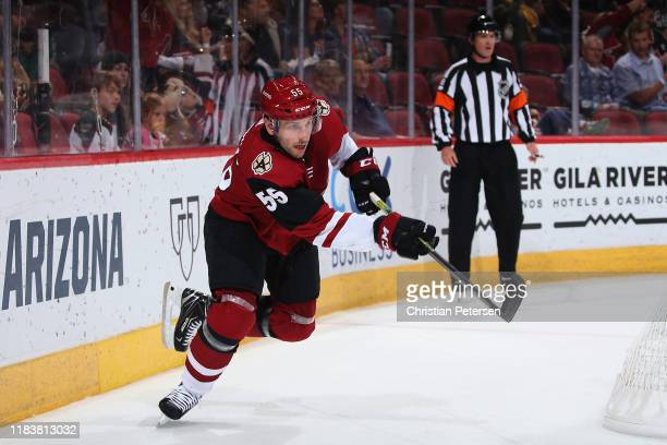 Jason Demers of the Arizona Coyotes passes the puck during the first period of the NHL game against the Nashville Predators at Gila River Arena on...