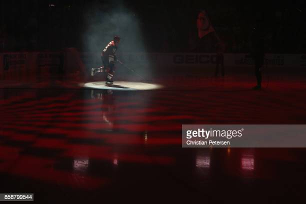 Jason Demers of the Arizona Coyotes skates onto the ice as he is introduced to the NHL game against the Vegas Golden Knights at Gila River Arena on...