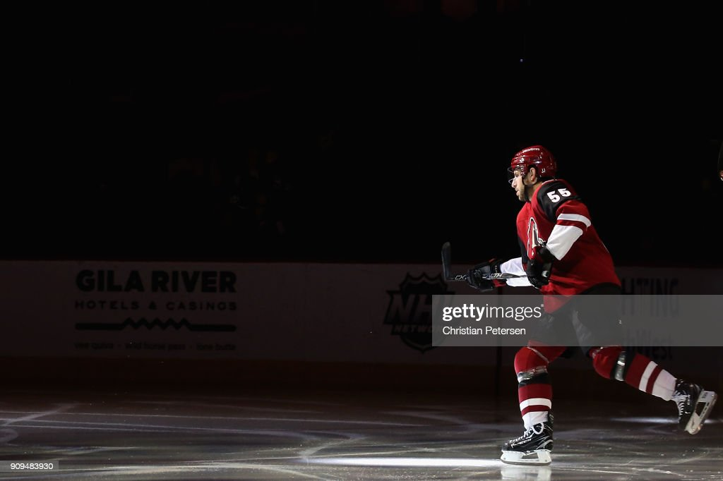 Jason Demers #55 of the Arizona Coyotes skates out onto the ice before the NHL game against the New York Islanders at Gila River Arena on January 22, 2018 in Glendale, Arizona. The Coyotes defeated the Islanders 3-2 in overtime.