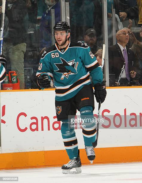 Jason Demers of the San Jose Sharks celebrates a goal in Game One of the Western Conference Finals during the 2010 NHL Stanley Cup Playoffs against...