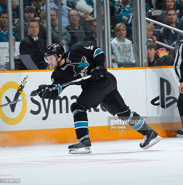 Jason Demers of the San Jose Sharks passes the puck against the Los Angeles Kings in Game 5 of the Western Conference Quarterfinals during the NHL...