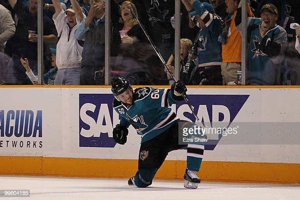 Jason Demers of the San Jose Sharks reacts after scoring a first period goal against the Chicago Blackhawks in Game One of the Western Conference...