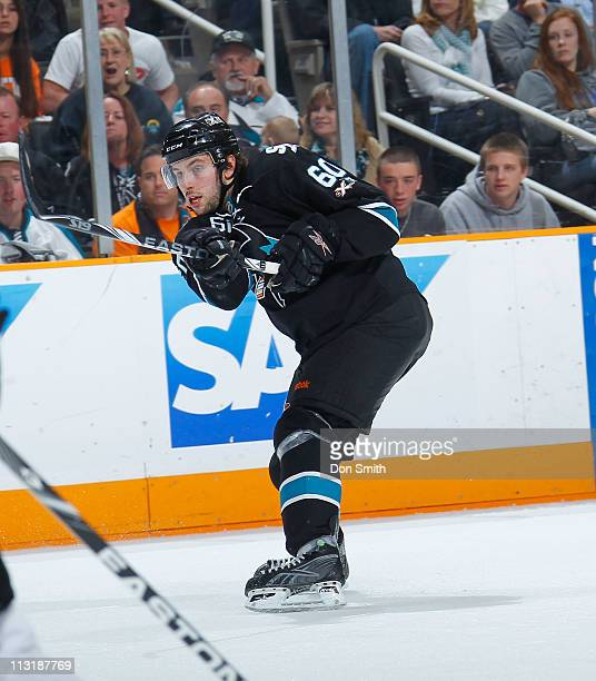 Jason Demers of the San Jose Sharks shoots the puck against the Los Angeles Kings in Game 5 of the Western Conference Quarterfinals during the NHL...
