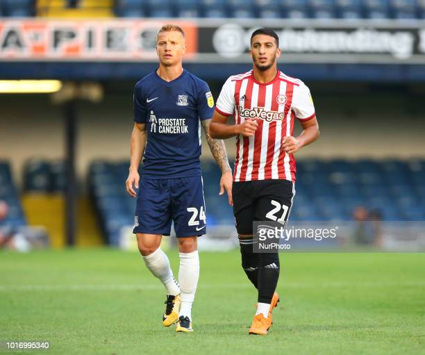 LR Jason Demetriou of Southend United and Said Benrahma of Brentford during Carabao Cup match between Southend United and Brentford at Roots Hall...