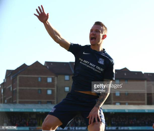 Jason Demetriou of Southend United celebrates scoring his sides second goal during League One match between Southend United against Portsmouth at...