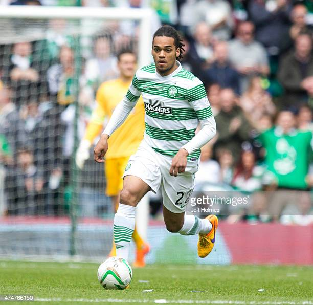 Jason Denayer in action for Celtic at the Scottish Premiership Match between Celtic and Inverness Caley Thistle at Celtic Park on May 24, 2015 in...