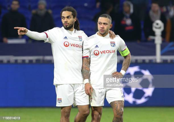 Jason Denayer, Memphis Depay of Lyon after the altercation with the supporters following the UEFA Champions League group G match between Olympique...