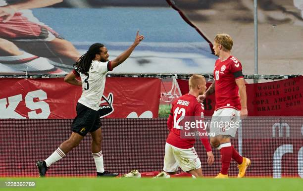 Jason Denayer of Belgium celebrates after scoring their first goal during the UEFA Nations League match between Denmark and Belgium at Parken Stadium...
