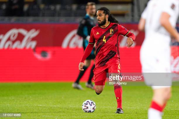 Jason Denayer of Belgium during the FIFA World Cup 2022 Qatar Qualifier match between Belgium and Belarus at Den Dreef on March 30, 2021 in Leuven,...