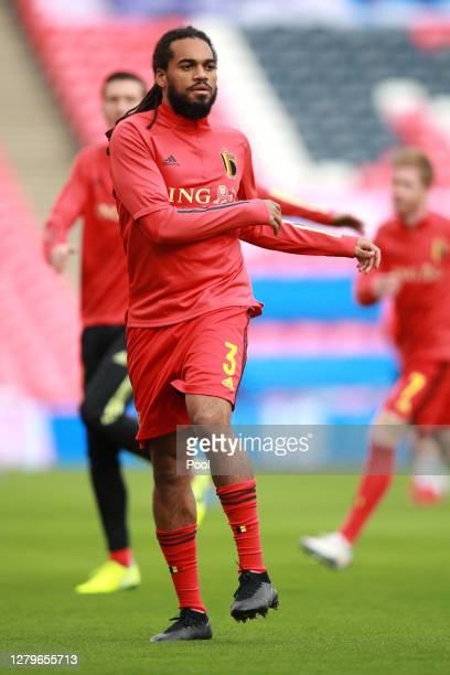 Jason Denayer of Belgium warms up ahead of the UEFA Nations League group stage match between England and Belgium at Wembley Stadium on October 11,...