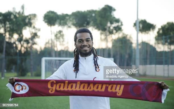 Jason Denayer of Galatasaray poses for a photo during a training session ahead of the second half of Turkish Super Lig, at Belek Tourism Center in...