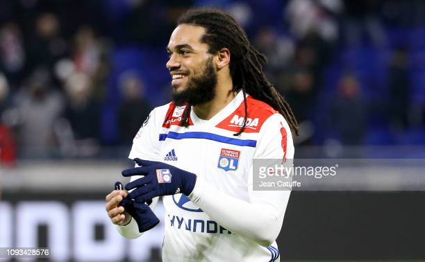 Jason Denayer of Lyon celebrates the victory following the french Ligue 1 match between Olympique Lyonnais and Paris Saint-Germain at Groupama...