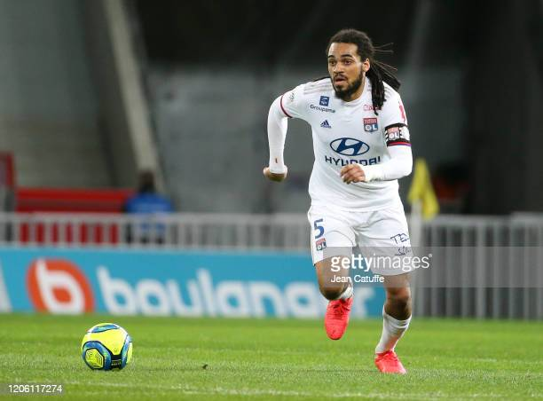 Jason Denayer of Lyon during the Ligue 1 match between Lille OSC and Olympique Lyonnais at Stade Pierre Mauroy on March 8, 2020 in Villeneuve d'Ascq...