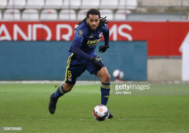 Jason Denayer of Lyon during the Ligue 1 match between Stade de Reims and Olympique Lyonnais at Stade Auguste Delaune on March 12, 2021 in Reims,...