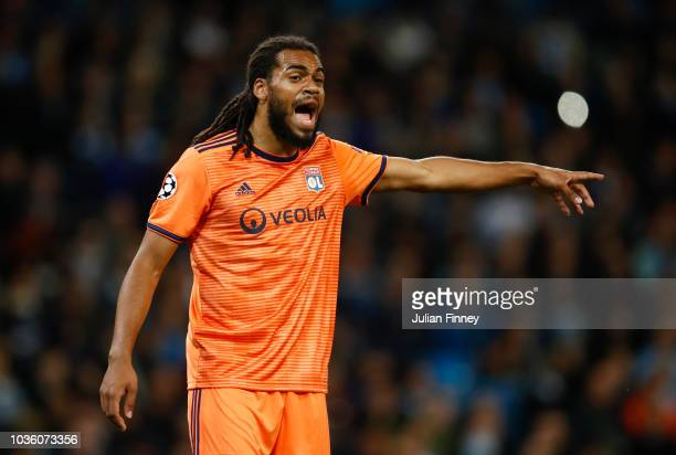 Jason Denayer of Lyon gives his team instructions during the Group F match of the UEFA Champions League between Manchester City and Olympique...