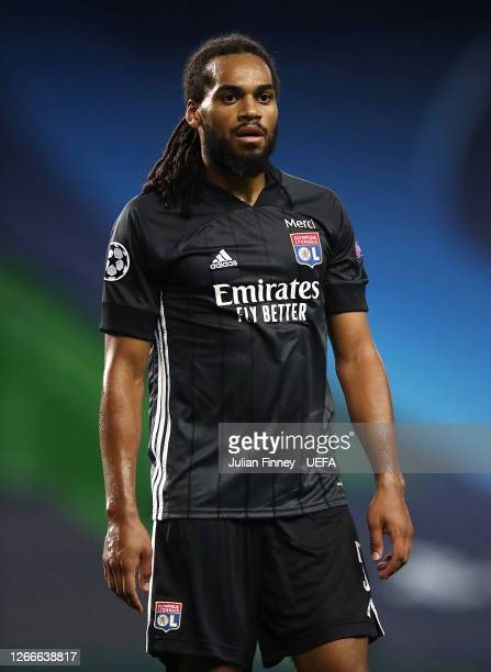 Jason Denayer of Lyon looks on during the UEFA Champions League Quarter Final match between Manchester City and Lyon at Estadio Jose Alvalade on...