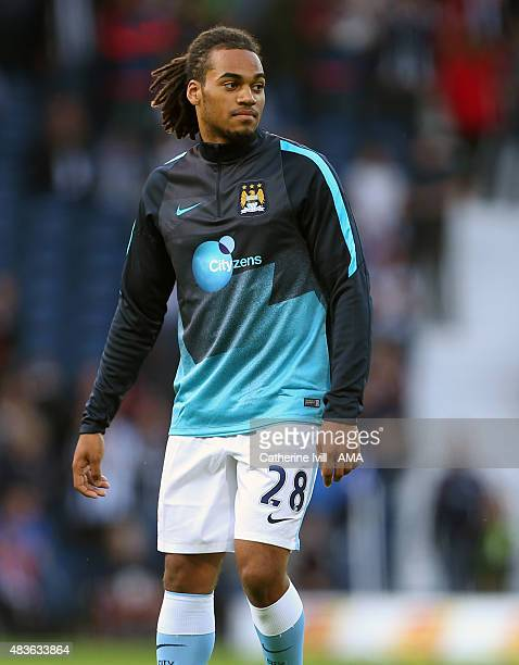 Jason Denayer of Manchester City warms up before the Barclays Premier League match between West Bromwich Albion and Manchester City at The Hawthorns...