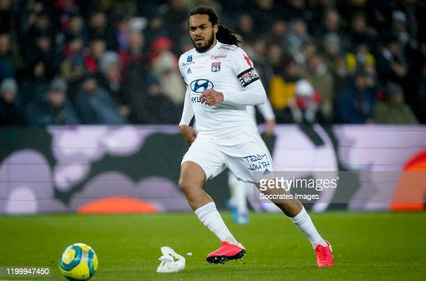 Jason Denayer of Olympic Lyon during the French League 1 match between Paris Saint Germain v Olympique Lyon at the Parc des Princes on February 9,...