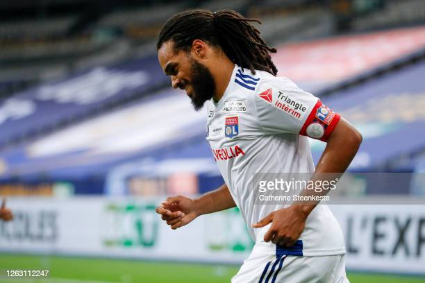 Jason Denayer of Olympique Lyonnais looks on during the French League Cup final between Paris Saint Germain and Olympique Lyonnais at Stade de France...