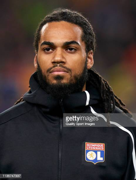 Jason Denayer of Olympique Lyonnais looks on prior to the UEFA Champions League Round of 16 Second Leg match between FC Barcelona and Olympique...