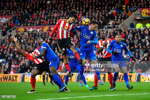 Jason Denayer of Sunderland and Christian Fuchs of Leicester City compete for the ball during the Premier League match between Sunderland and...