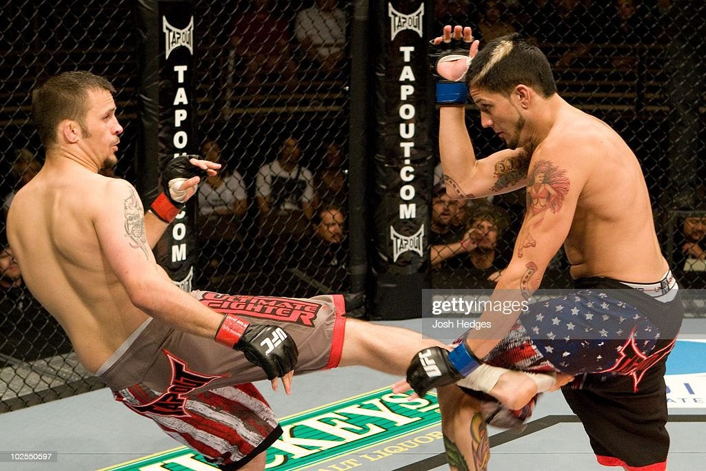 Jason Dent (grey shorts) def. Cameron Dollar (black shorts) - Submission (anaconda choke) - 4:46 round 1 during The Ultimate Fighter 9 Finale at The Pearl at the Palms on June 20, 2009 in Las Vegas, Nevada.