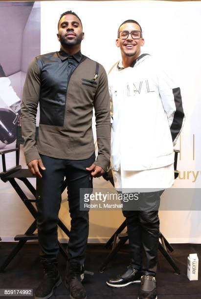Jason Derulo and CEO Antonio Brown attend the Launch of LVL XIII Men's Luxury Wear at Bloomingdale's Century City on October 8 2017 in Century City...
