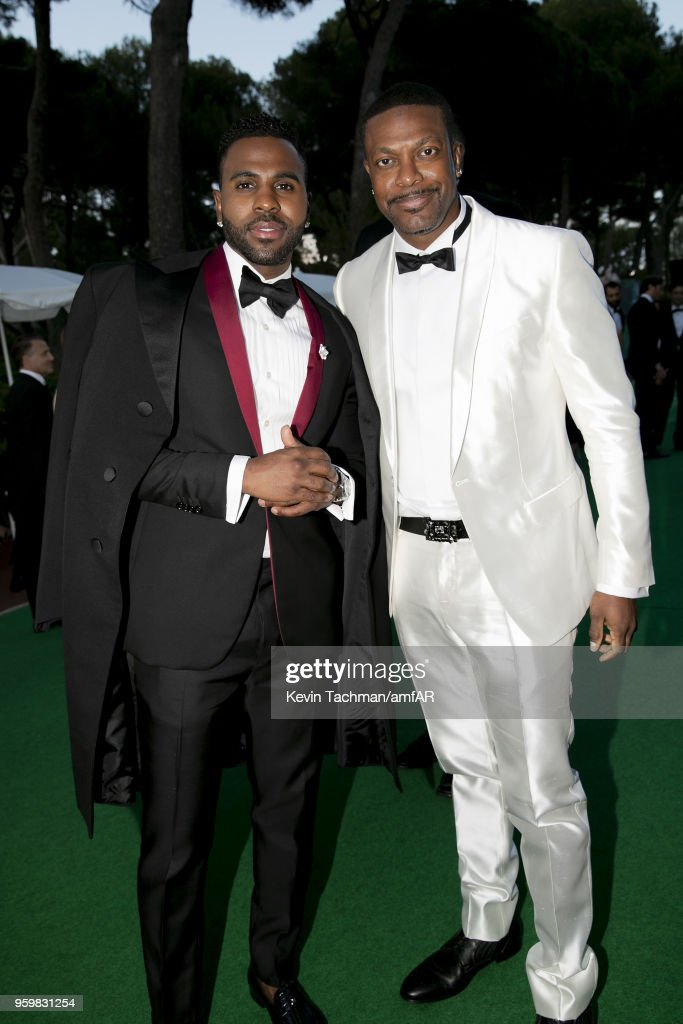 Jason Derulo and Chris Tucker attends the cocktail at the amfAR Gala Cannes 2018 at Hotel du Cap-Eden-Roc on May 17, 2018 in Cap d'Antibes, France.