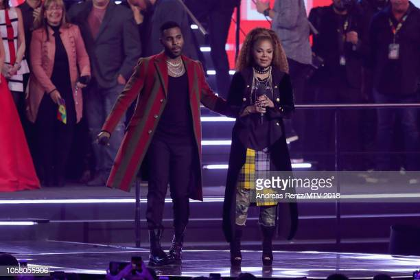 Jason Derulo and Janet Jackson on stage during the MTV EMAs 2018 at Bilbao Exhibition Centre on November 4 2018 in Bilbao Spain