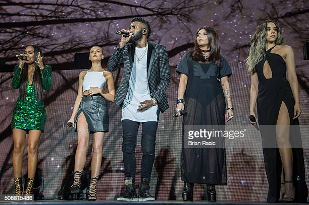 Jason Derulo and Little Mix LeighAnne Pinnock Perrie Edwards Jesy Nelson and Jade Thirlwall perform at The 02 Arena on February 5 2016 in London...