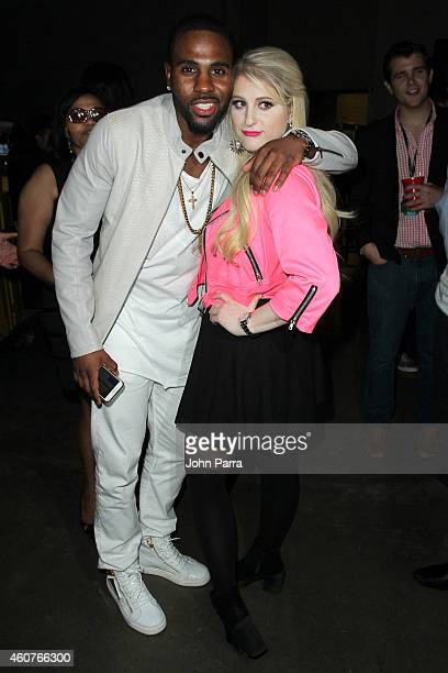 Jason Derulo and Meghan Trainor attend Y100's Jingle Ball 2014 at BBT Center on December 21 2014 in Miami FL