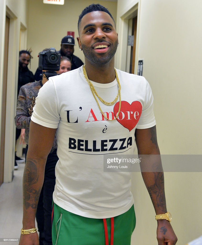 Jason Derulo arrives at Boys & Girls Club to join choreographer Jeremy Strong to teach youth choreography to his new single 'Colors' at Boys & Girls Club of Broward County on March 12, 2018 in Hollywood, Florida. The footage from the lesson will be used in the official 'Colors' lyric video and following the group performance, Derulo hosted a Q&A with the club's youth to answer questions about his upbringing, career and more.