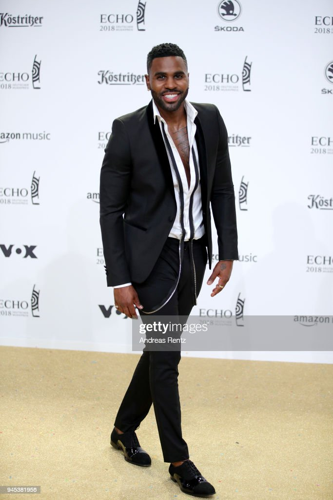 Jason Derulo arrives for the Echo Award at Messe Berlin on April 12, 2018 in Berlin, Germany.