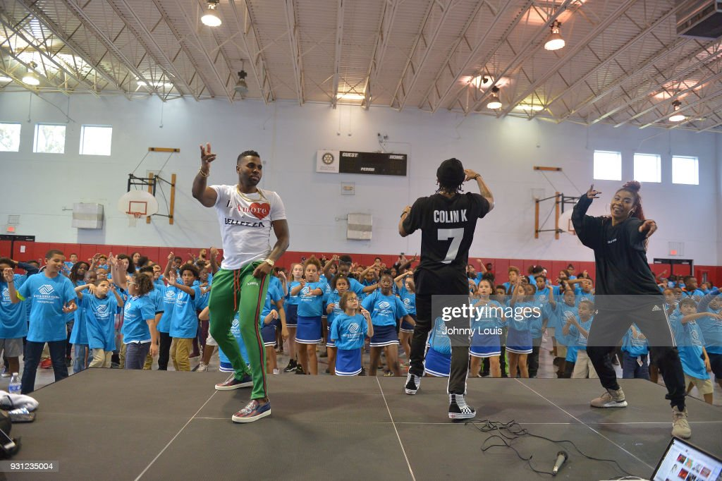 Jason Derulo joins choreographer Jeremy Strong to teach youth choreography to Jason Derulo's new single 'Colors' at Boys & Girls Club of Broward County on March 12, 2018 in Hollywood, Florida. The footage from the lesson will be used in the official 'Colors' lyric video and following the group performance, Derulo hosted a Q&A with the club's youth to answer questions about his upbringing, career and more.