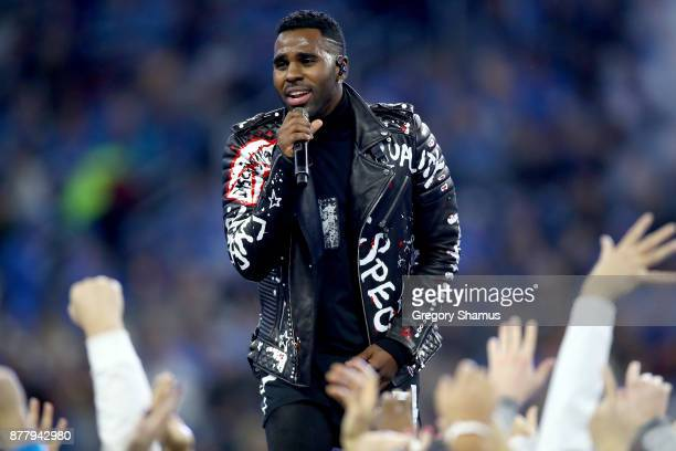 Jason Derulo performs during halftime a the Detroit Lions and Minnesota Vikings game at Ford Field on November 23 2017 in Detroit Michigan
