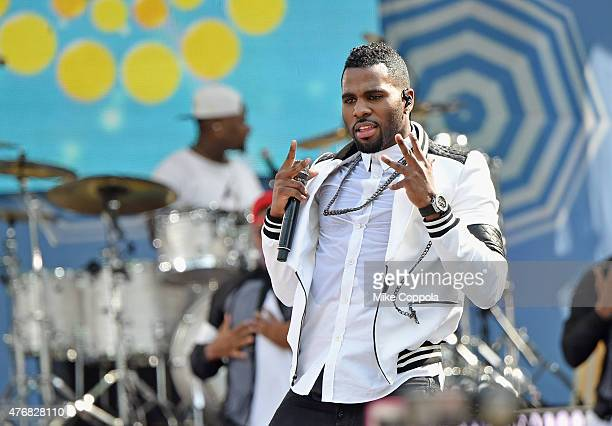 Jason Derulo performs on ABC's 'Good Morning America' at Rumsey Playfield Central Park on June 12 2015 in New York City
